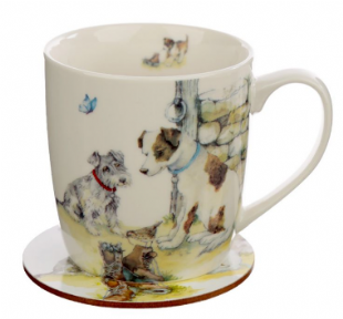 Jan Pashley Dogs Mug & Coaster Set